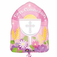 1st Communion - Pink - Shape - 18 inch - Anagram